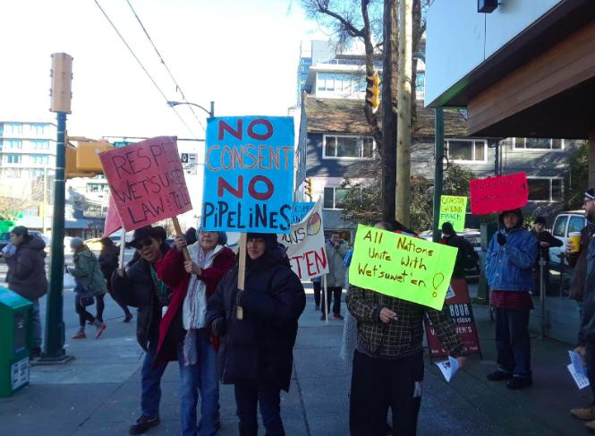 NDP MLA George Heyman's office locked as 30 Indigenous people and supporters demand cease and desist of Coastal GasLink work in Unist'ot'en Territory
