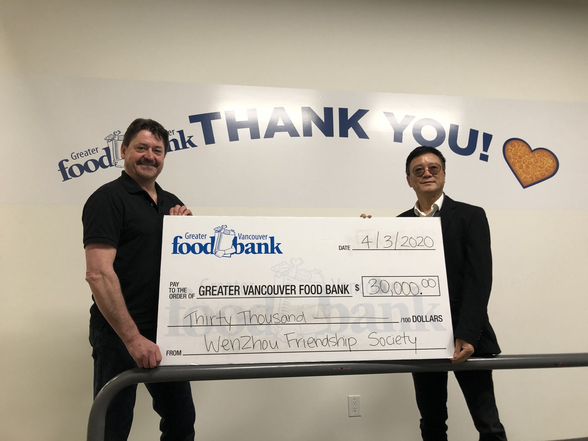 Wenzhou Friendship Society makes $30,000 food bank donation for COVID-19 relief assistance